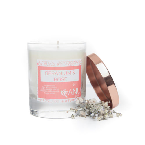 Geranium Rose essential oil candle